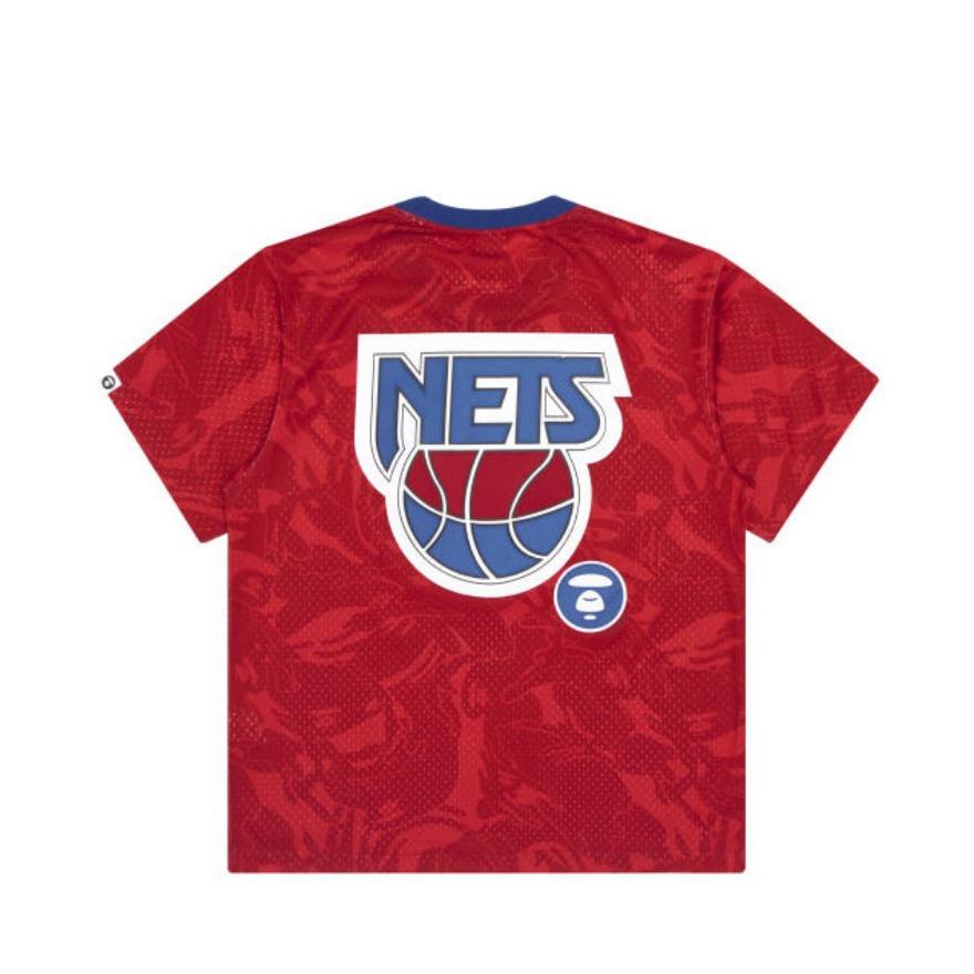 Aape x MITCHELL & NESS 联名新泽西篮网猿颜字母刺绣短袖T恤 9387
