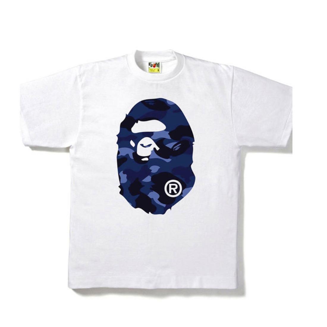 Bape Color Camo Big Ape Head Tee White/Navy
