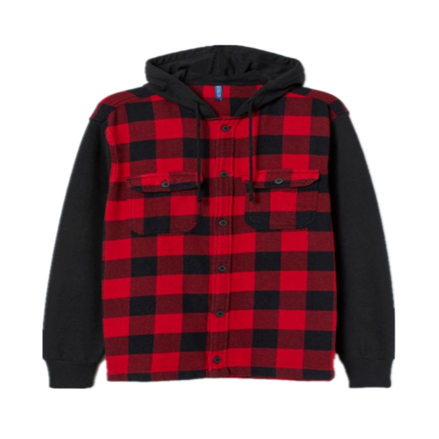H&M 百搭新款格子连帽衬衫式夹克外套 0774295