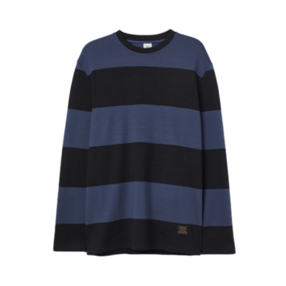 H&M 百搭拼接条纹打底卫衣 0759125
