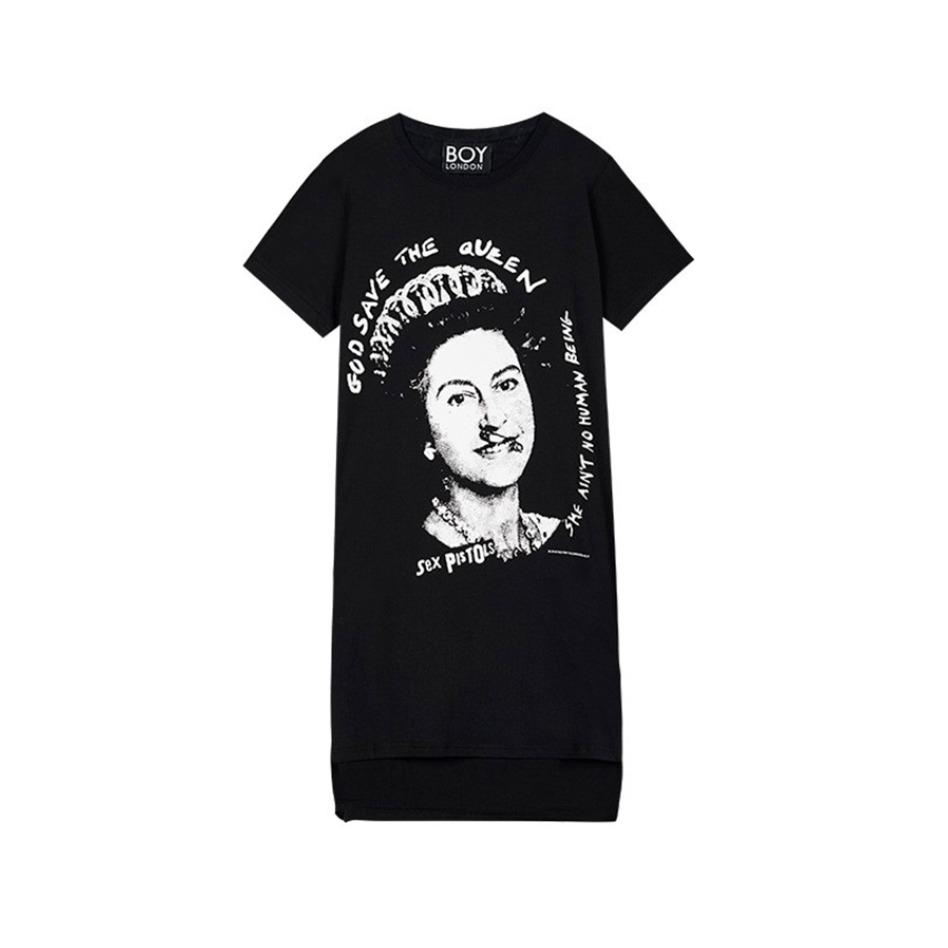 Boy London 英版 2018英伦头像印花长款短袖T恤 B182WM108502