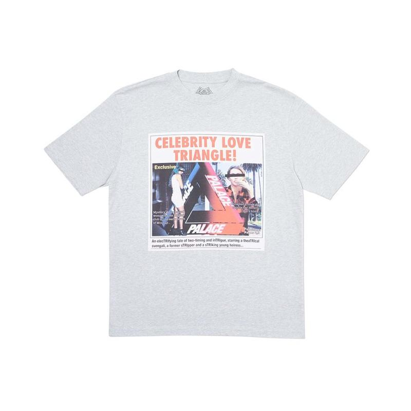 PALACE 2019AW Love Triangle T-Shirt Grey Marl 休闲短袖T恤