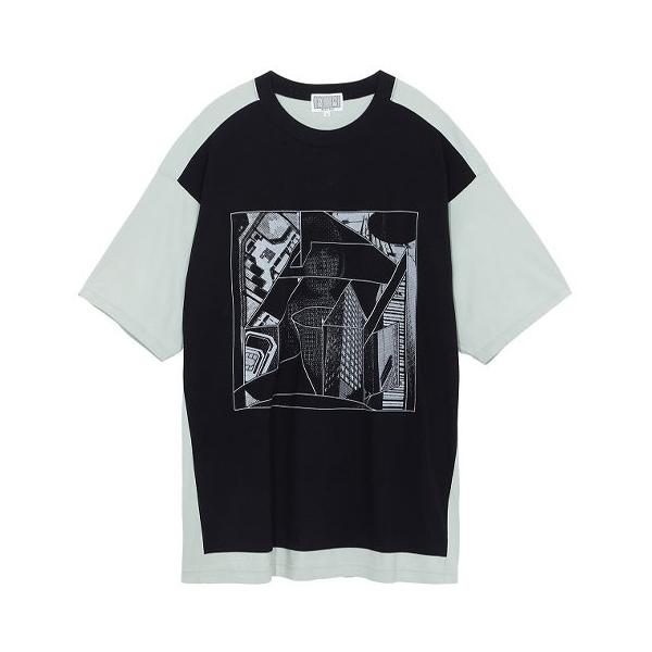 C.E/Cav Empt SS21 WRAP FORWARD 数码印花拼色宽松短袖T恤